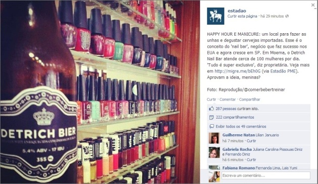 Facebook do ESTADÃO  Happy Hour e Manicure