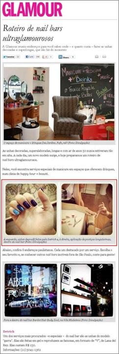 Site da Revista Glamour - Junho/12 Roteiro de Nail Bars ultraglamourosos