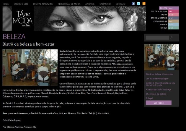 Tá na Moda Online - Setembro/11 Bistrô de Beleza e Bem-Estar