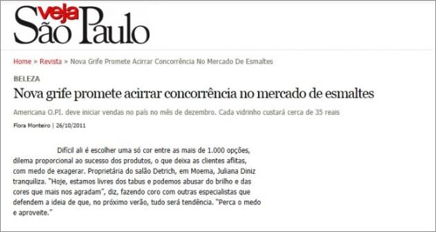 Revista Veja SP - Outubro/11 Nova grife de esmaltes